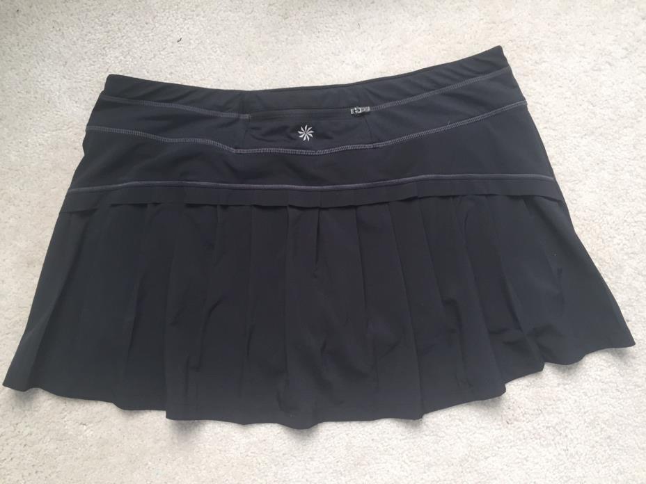 EUC Athleta Black Skort Skirt with Purple Shorts Under Casual Golf Tennis XL