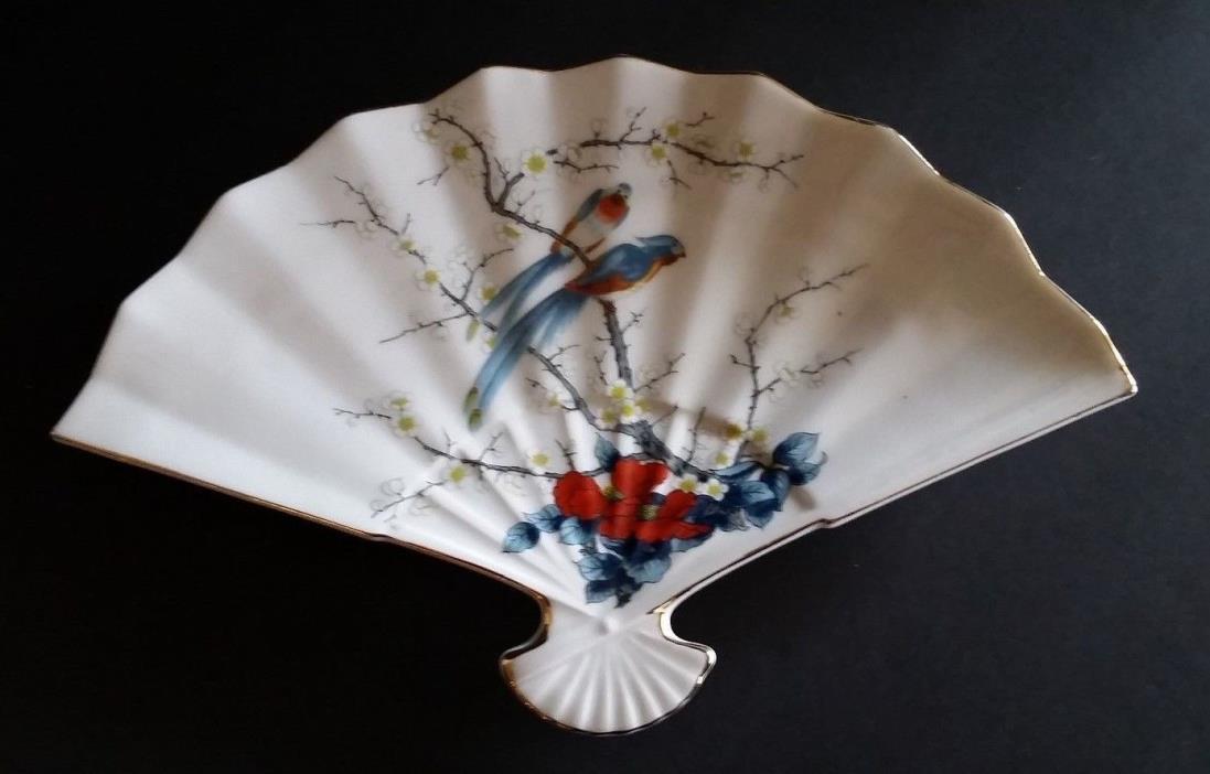 Trinket Dish Tray Fine China Fan Shaped by Jay Made in Japan
