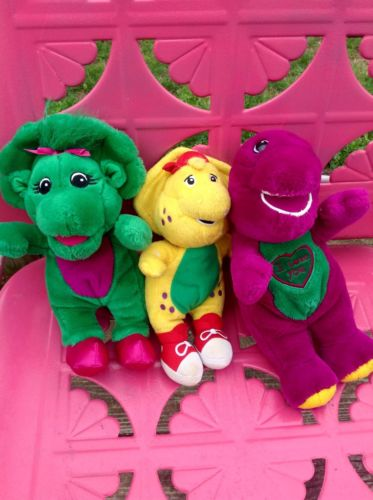Vintage Barney ~ BJ ~ Baby Bop Singing I Love You Plush Toy Set *WoW*