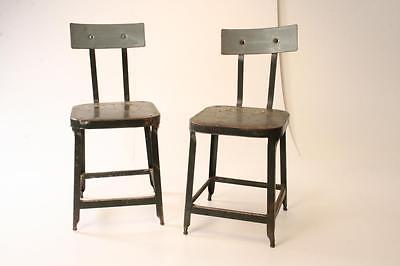 Vintage INDUSTRIAL CHAIR PAIR steel metal stool steampunk factory shop old green