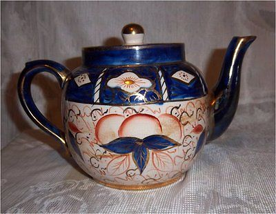 Antique Gaudy Welsh Teapot – Imari Decorated Earthenware Price Kensington