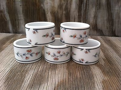 Princess House Heritage Blossom Fine Porcelain Napkin Rings Set Of 5
