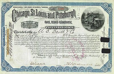 USA CHICAGO ST.LOUIS & PITTSBURGH RAILROAD stock certificate 1888 PREFERRED ST