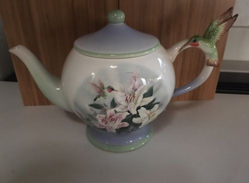 Decorative Decor Hummingbird Flowers Teapot
