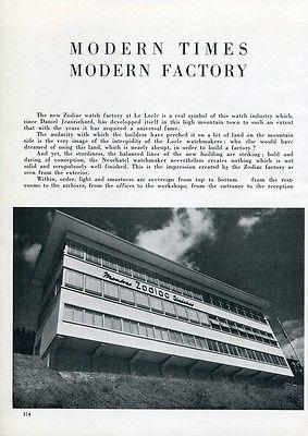 1951 Zodiac Watch Co Le Locle Switzerland Modern Times Modern Factory Suisse
