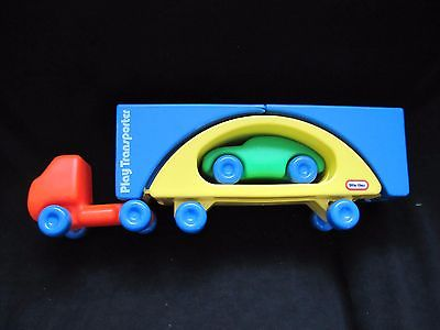 RARE Little Tikes PLAY TRANSPORTER SemiTruck CAR CARRIER Transform 2 Bridge 1983