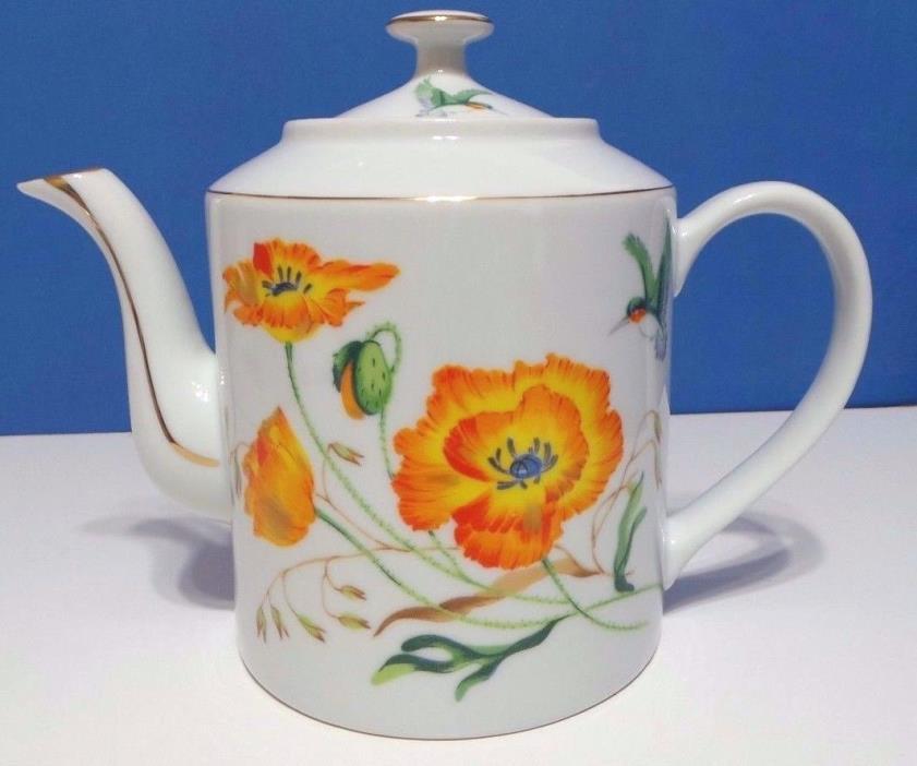 Vintage Japan Porcelain Teapot Gold Trim Poppy Flowers with Hummingbirds