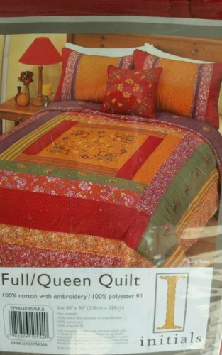 Red Floral paisley color block quilt full queen in package boho chic embroidered