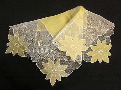 Swiss Vtg Yellow Floral Tambour Net Lace Linen Embroid Hanky Wedding Bridal 11