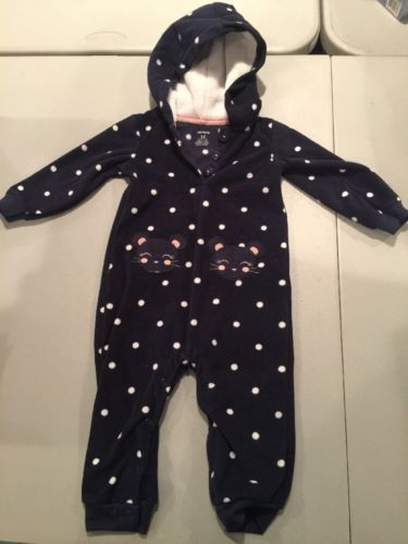 Carter's Baby 12 Months Fleece Sleeper Hoodie Footless Warm, Soft