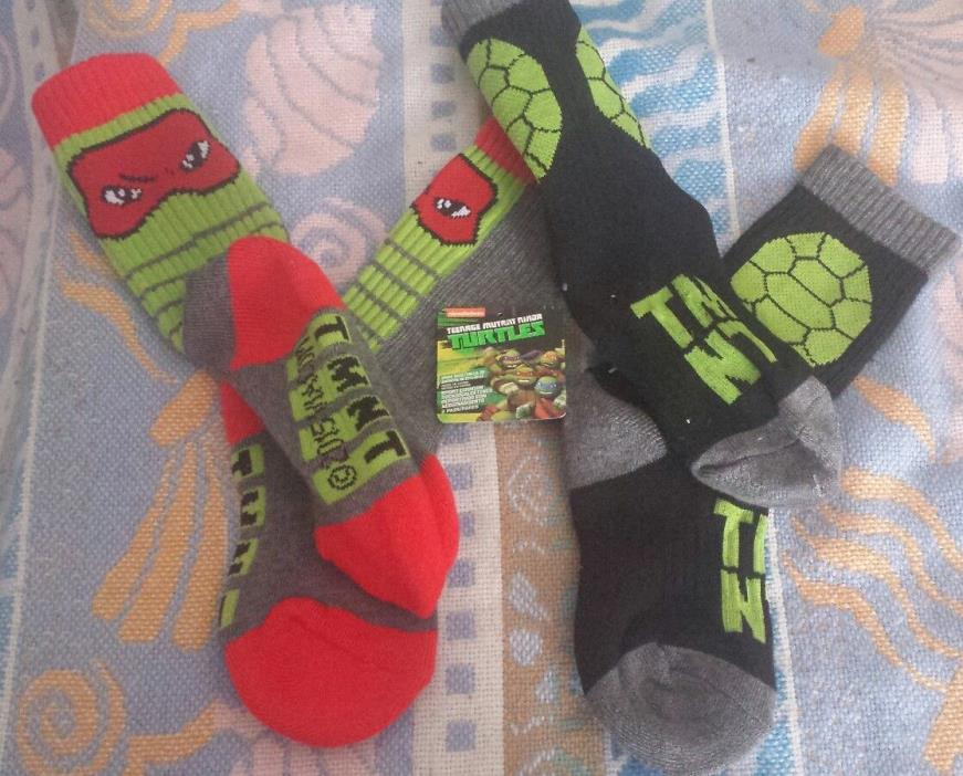 TMNT Ninja Turtles Anklets Socks 8 Pair Nickelodeon Boy 7 1/2 - 3 1/2
