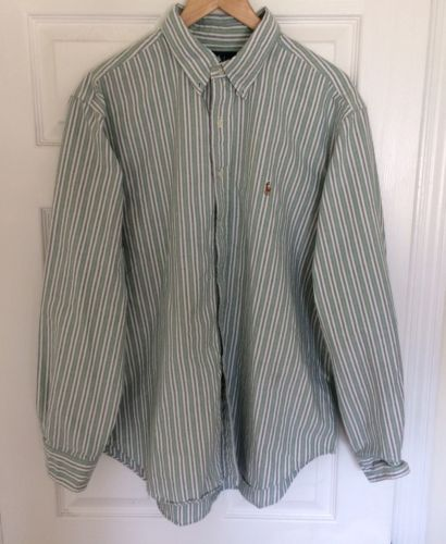 Ralph Lauren Mens Button Down Classic Fit Green Striped With Pony Shirt 18-36/37