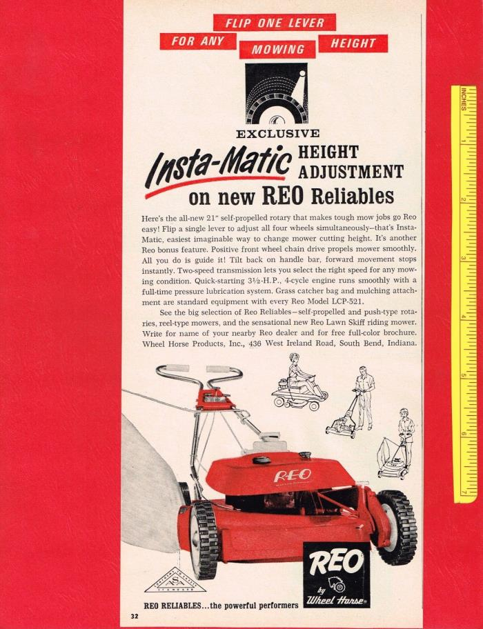 Vintage 1965 REO by WHEEL HORSE SELF-PROPELLED ROTARY LAWN MOWER Original Ad