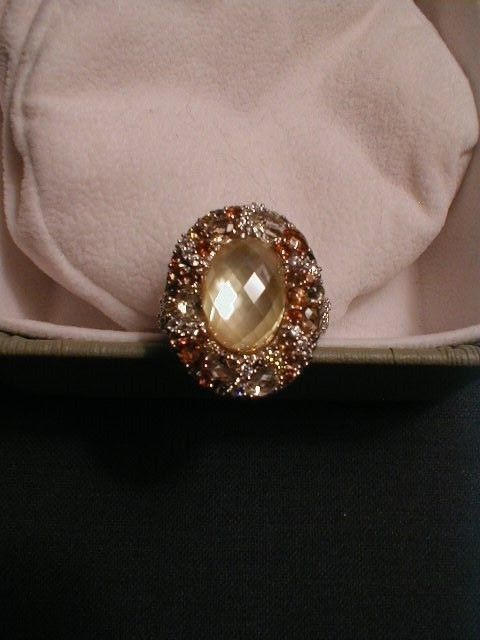 Judith Ripka SS Yellow MOP Multi-Gemstone & Diamonique Ring - Size 10