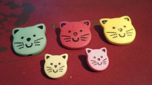 Vintage Five Cat Kitty Face Buttons - Green Yellow Red Pink - New Old Stock