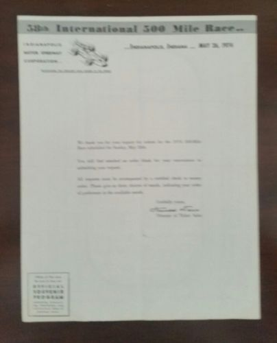 1974 Indy 500 TICKET ORDER FORM AND LETTER