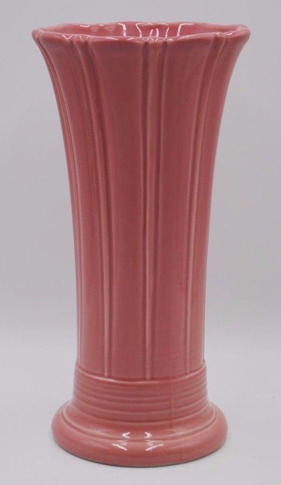 Fiesta Vase Rose Pink Flared Fluted Fiestaware HLC Retired 9.5 inch Art Deco