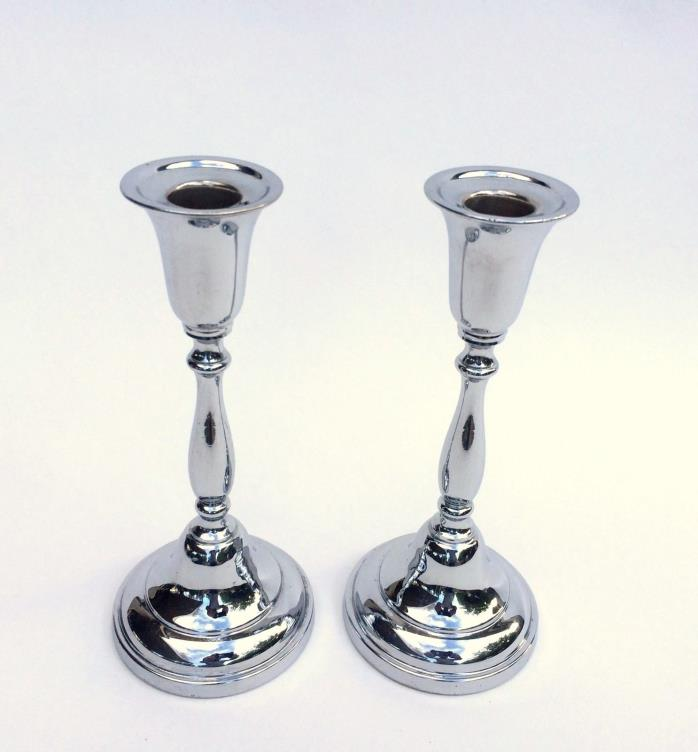 Pair of Art Deco Krome Kraft Candlestick Holders Faber Bros New York