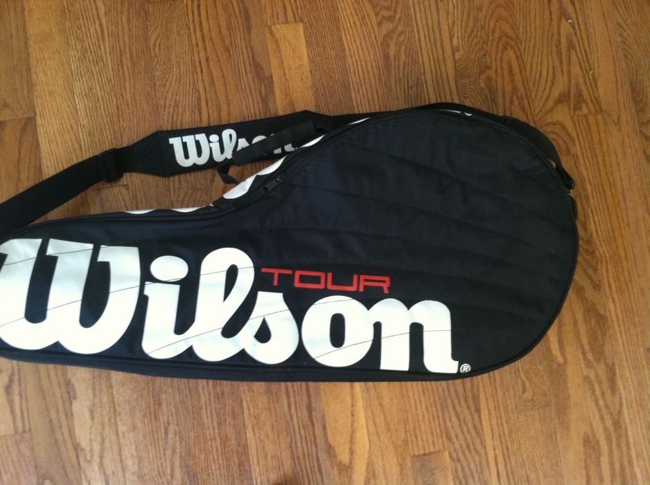 Wilson Tour tennis racquet carrier shoulder strap bag carrying travel black used