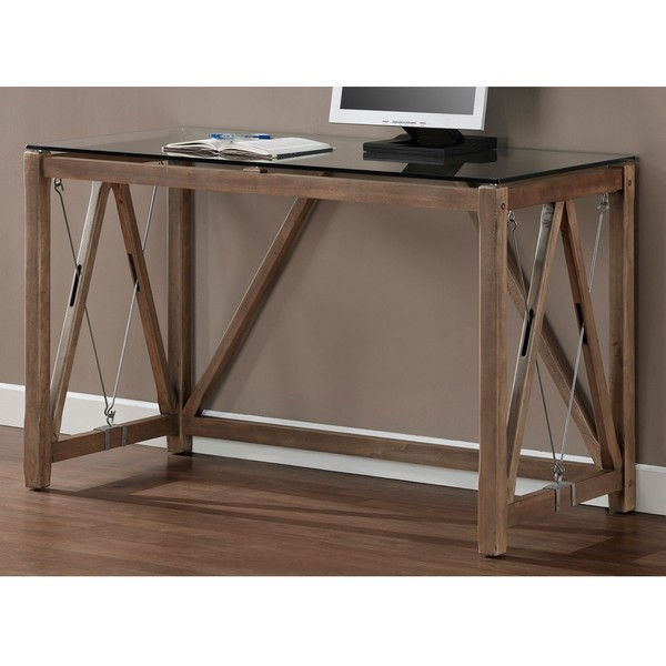 Wood Steel Cable Glass Top Writing Computer Office Desk - Weathered Grey Oak
