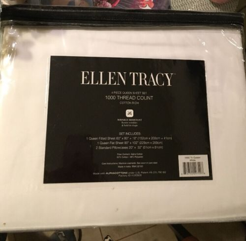 Ellen Tracy 1000 TC 4Pc Queen Sheet Set White Wrinkle Resistant Mothers Day Gift