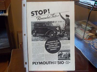 vintage print ad, 1935 Plymouth