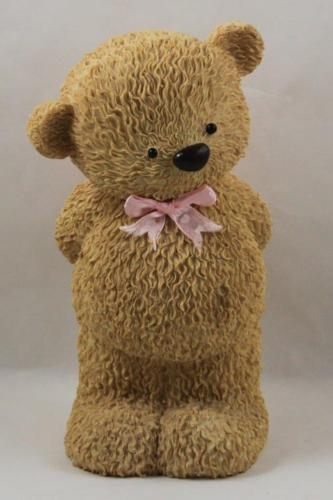 Coin Piggy Bank Resin Boy Bear Pink Flowers Ribbon Bow Stopper Baby Nursery