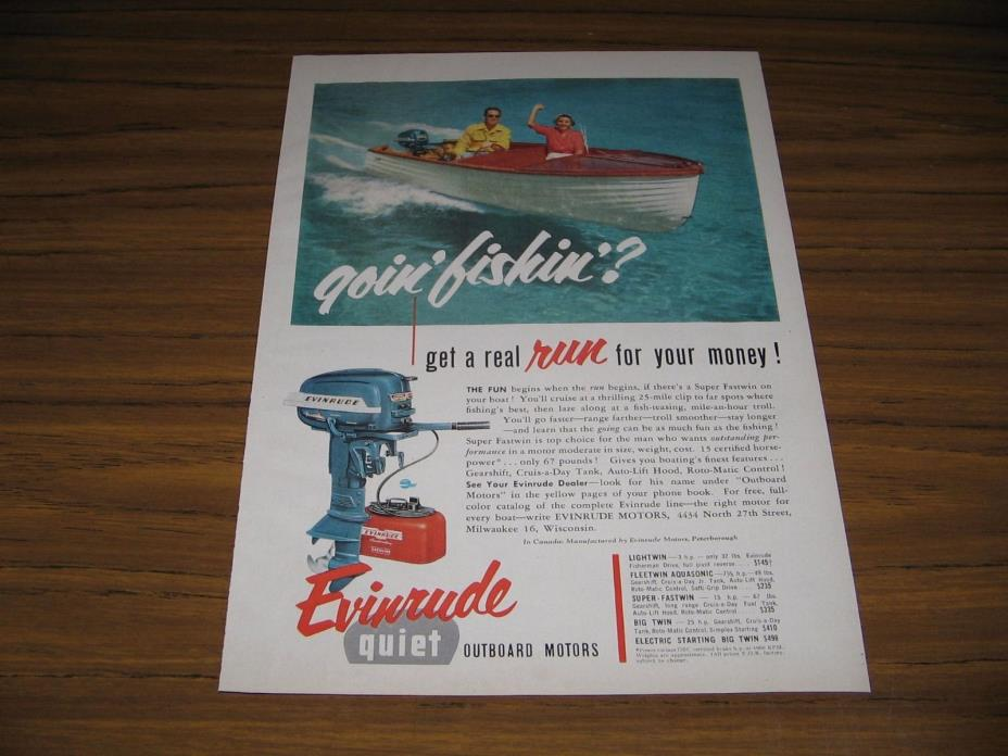1954 Print Ad Evinrude Quiet Outboard Motors Couple in Wood Boat