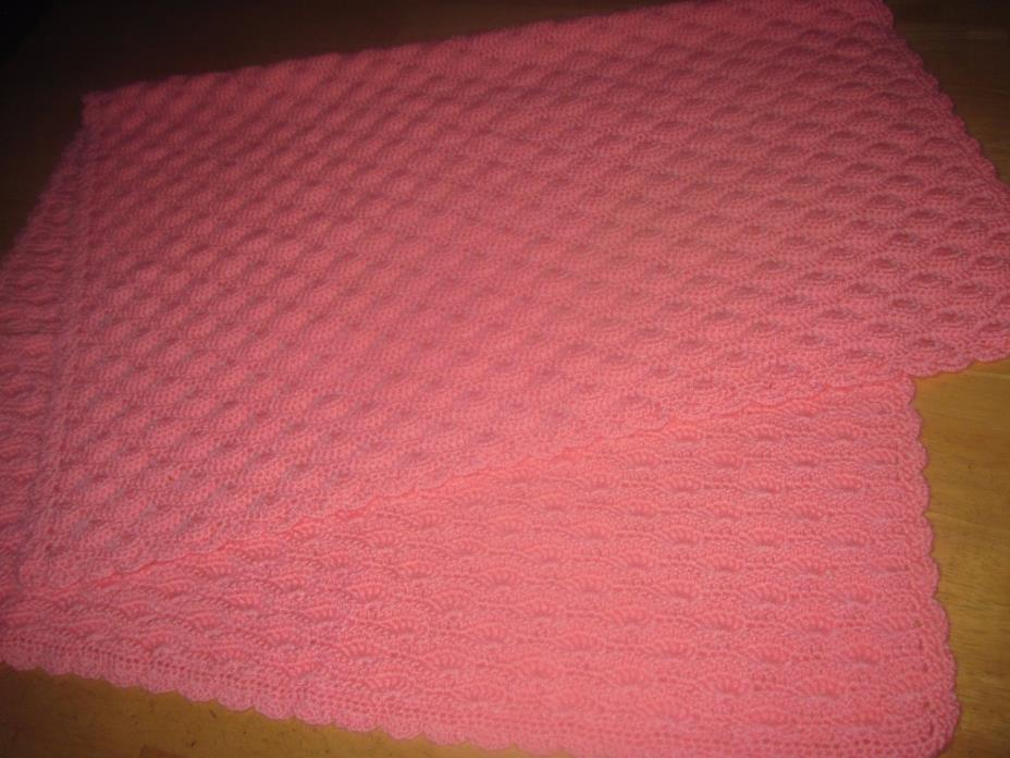 HAND MADE PINK CROCHET BABY BLANKET-43