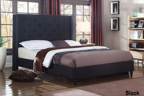 Twin Full Queen King Size Platform Beds Upholstered Bed Black Headboard & Frame