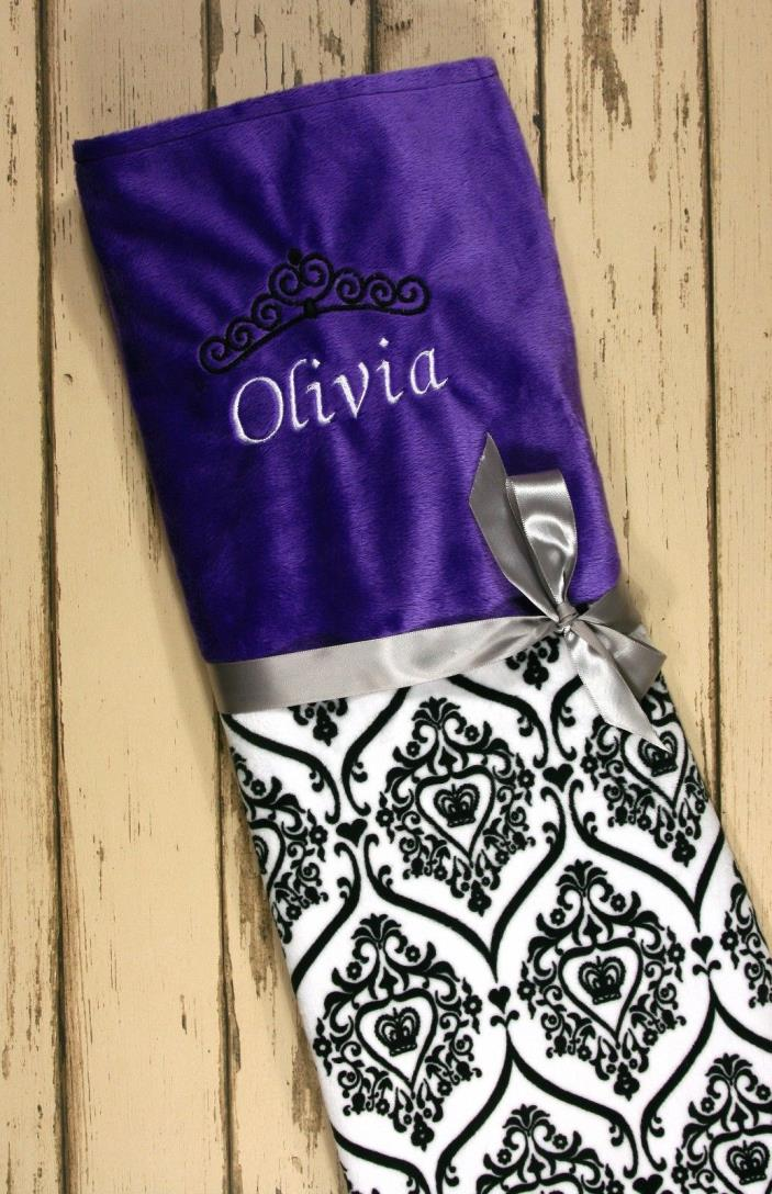 Personalized minky damask print baby blanket