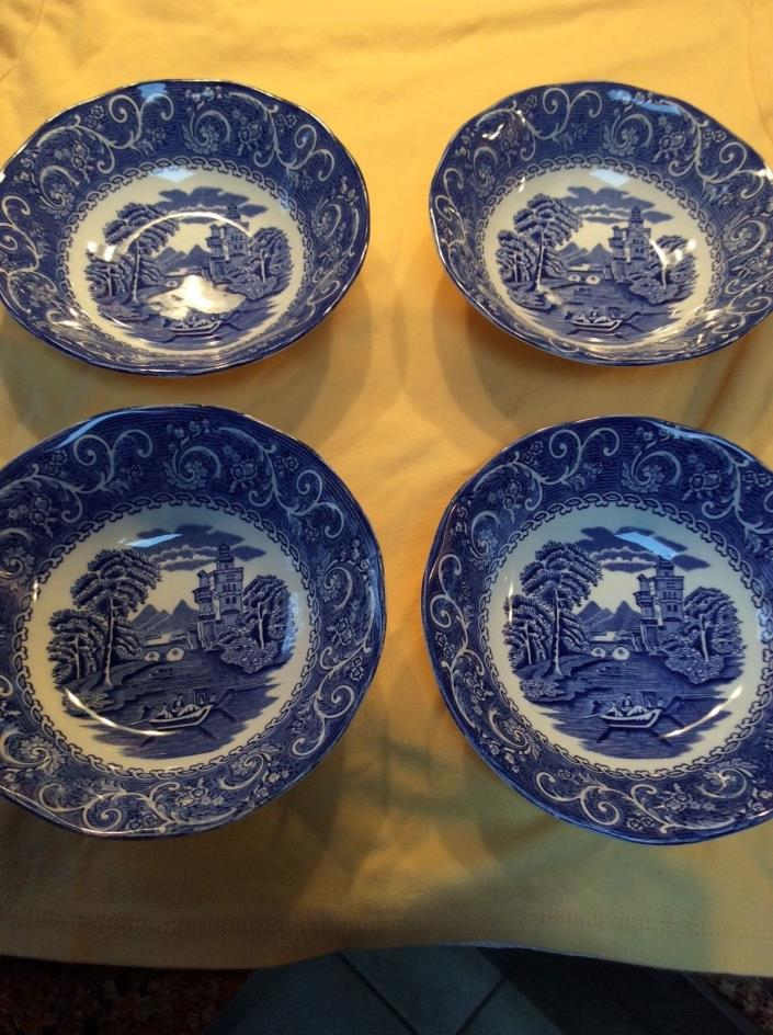 Vintage Staffordshire Canterbury Blue Ironstone River Scene Cereal Bowls - 4
