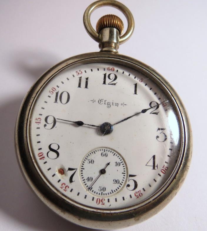 ANTIQUE 1899 ELGIN 15 JEWELS POCKET WATCH SILVER TONE 18 SIZE FULL PLATE RUNS