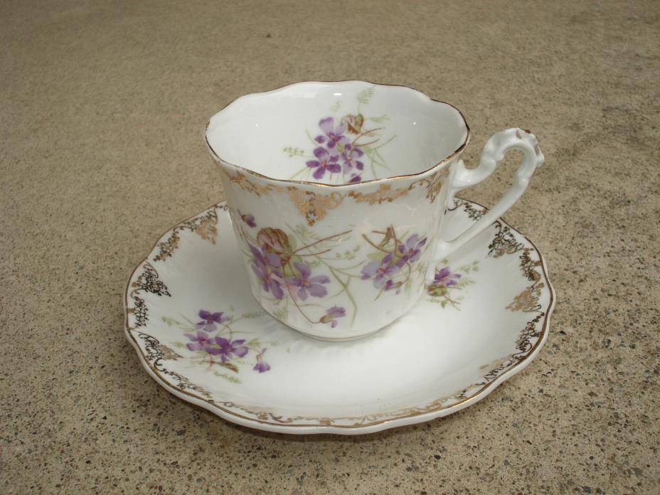 Vintage KPM Porcelain Tea Cup & Saucer Gilded With Purple Flowers