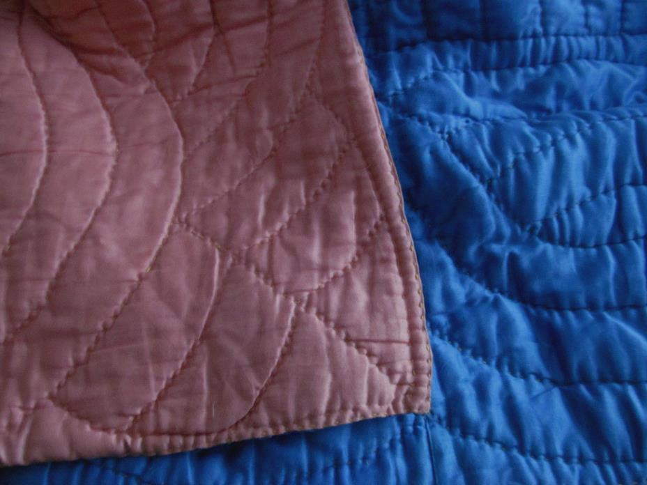 Hand Quilted~Reversible Pink Blue Antique WHOLE CLOTH Quilt Coverlet Deco Era