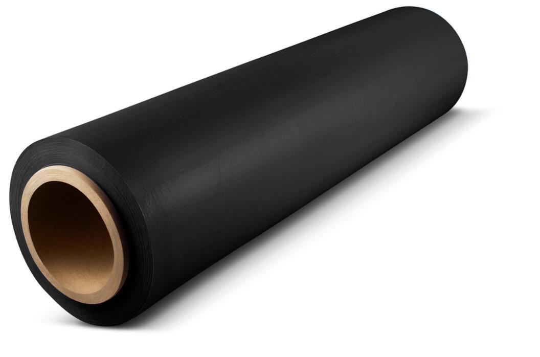128 Rolls 18 Inch x 1000 Ft x 120 Ga Black Color Stretch Wrap Hand Film