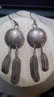 Vtg South Western Navajo SS Concho Feather Earrings