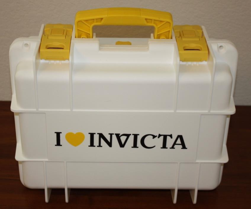 NEW I LOVE INVICTA Eight 8 Slot Dive Watch Case WHITE W/ YELLOW BLACK LETTERING