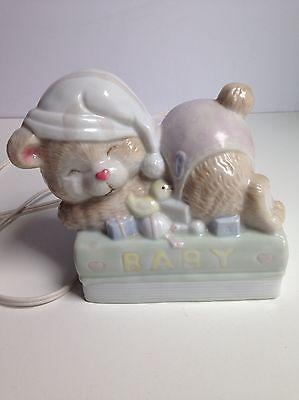 Vintage Ceramic Sleeping Bear Baby Nursery Lamp Light Nightlight