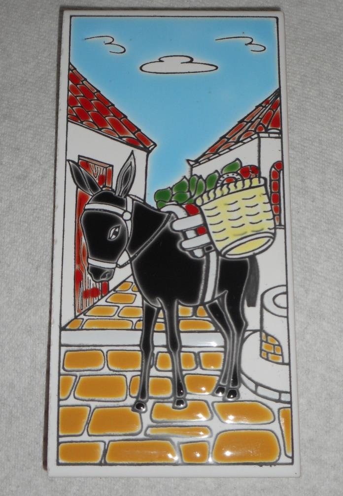 BLACK DONKEY with BASKETS: Painted, Ceramic, Decorative GREEK Tile, 3 x 6
