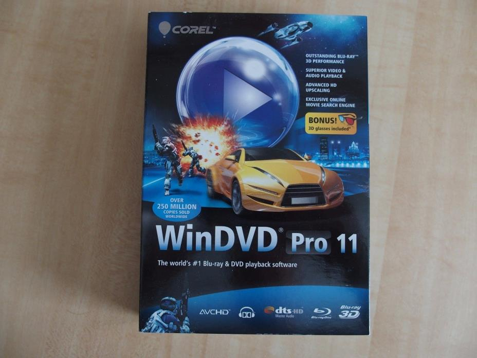 Corel WinDVD Pro 11 boxed Blu-ray & DVD playback software with 3D glasses