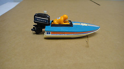 VINTAGE 1978 TOMY SPEED BOAT WITH WIND-UP MERCURY TOY OUTBOARD BOAT MOTOR WORKS