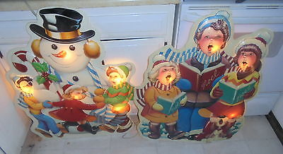 2 RARE vintage NOMA lighted PLASTIC outside CHRISTMAS snowman caroler DECORATION