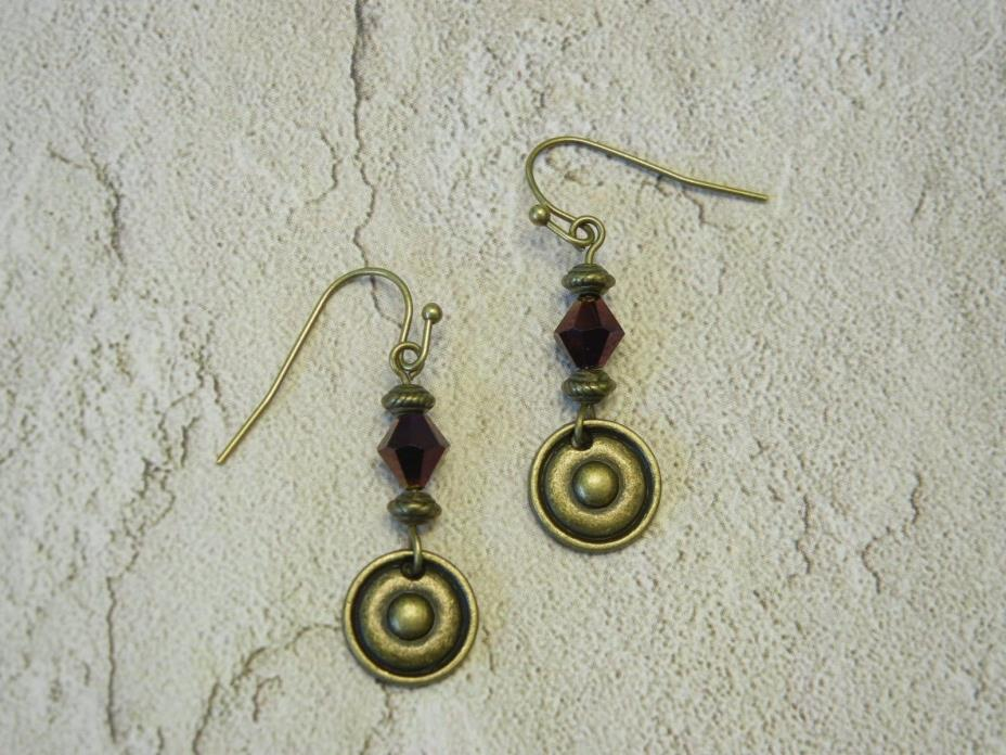 Drop earrings with purple bicones, antique bronze round disc charms (E0106)
