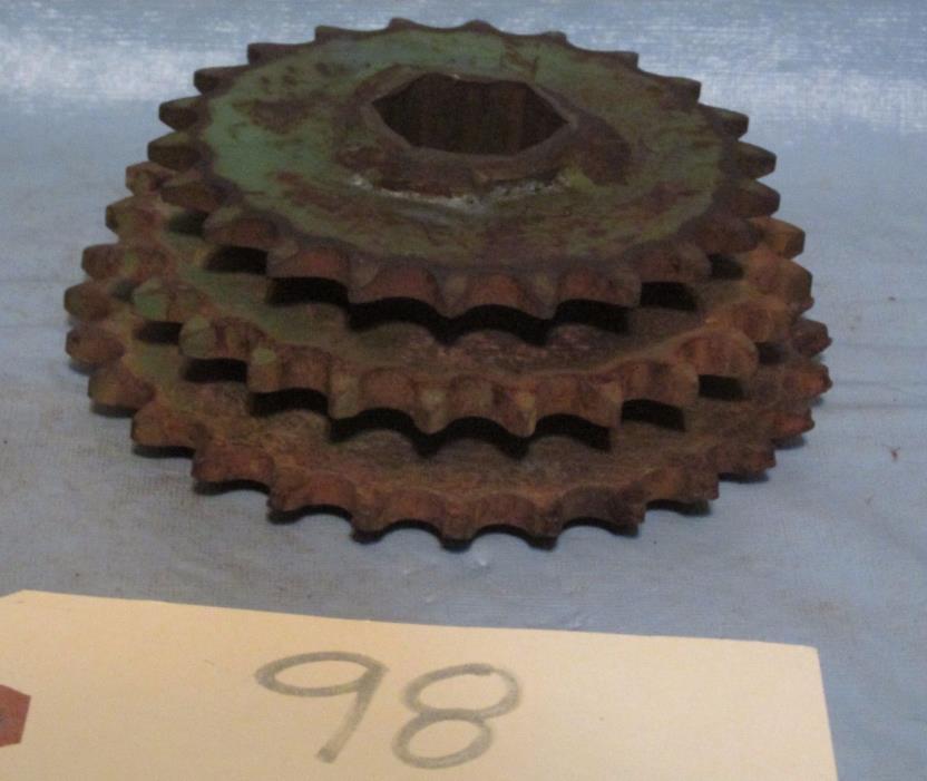 Vintage Industrial Machine Age Steel/Cast Triple Gear Steampunk Art Lamp Part