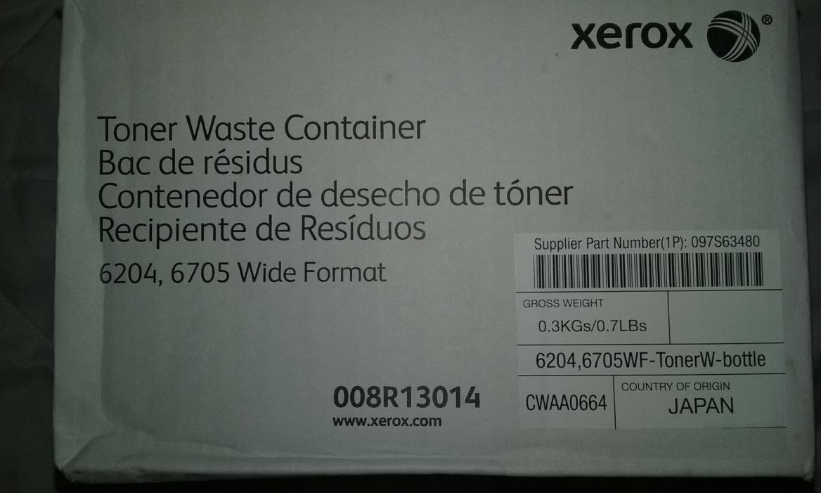 NEW Genuine XEROX 6204 Wide Format Toner Waste Container 008R13014 Free shipping