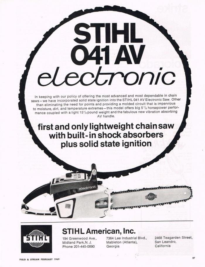 Vintage 1969 STIHL 041AV ELECTRONIC CHAINSAW Original Full-Page Print Ad