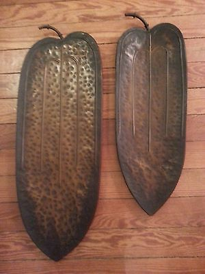 SET OF 2 LARGE BRONZE DISTRESSED METAL LEAF WALL OR TABLE  DECOR