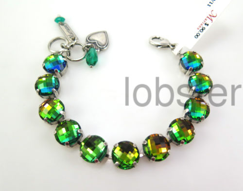 MARIANA RAINBOW MIX SILVER BRACELET Large Multicolor Faceted Swarovski Crystal