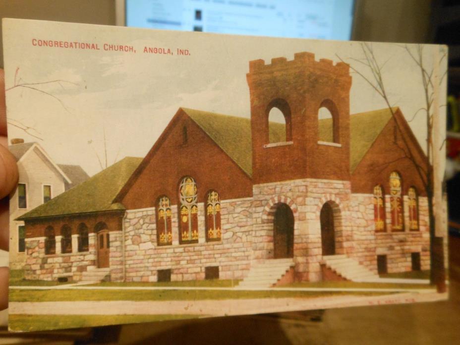 Vintage Old INDIANA Postcard Angola Congregational Church Stone Building Windows